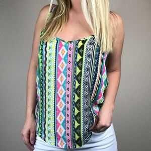 Aztec tribal tank top blouse boutique medium